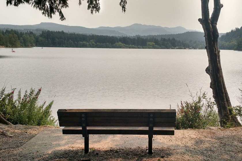 bench at lakeside