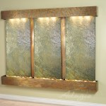 Deep Creek Falls Wall Water Feature Green Slate With Rsutic Copper Finish Squared Water Feature Supply