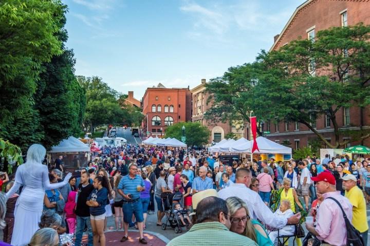 The WaterFire Arts Festival Plaza on Washington Street. Photo by Jennifer Bedford.