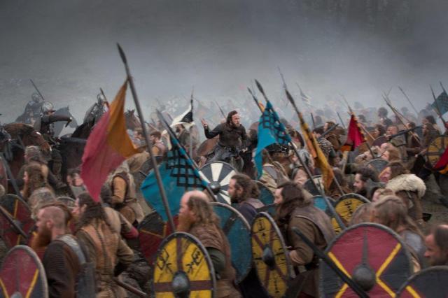 Moe Dunford on the set of Vikings