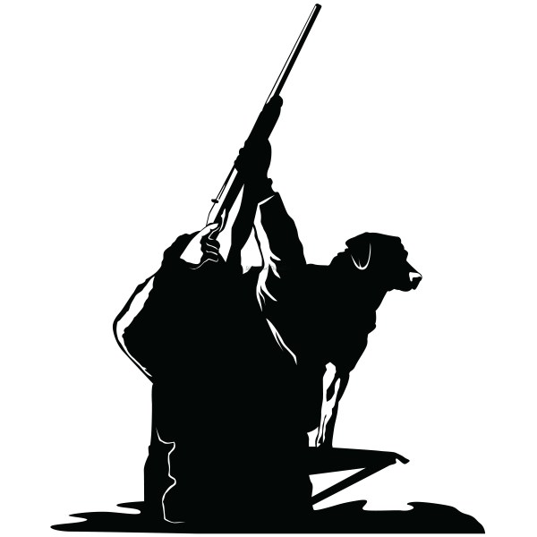 Duck Hunter With Dog Decal - Hunting Sticker
