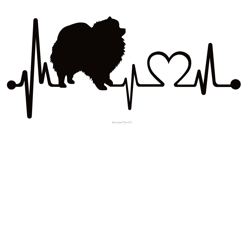 Pomeranian Dog Heartbeat Lifeline Decal Sticker