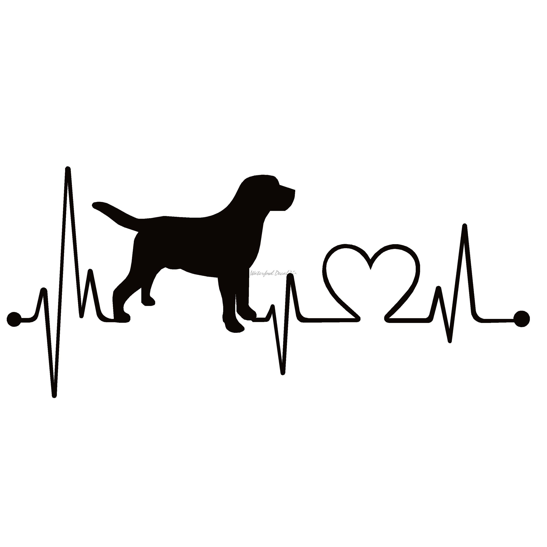Labrador Retriever Heartbeat Lifeline Dog Decal