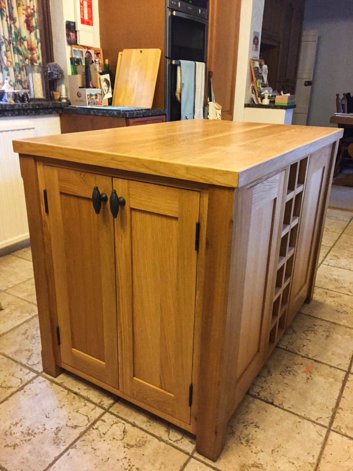 solid wood kitchen island narrow table unit made from oak