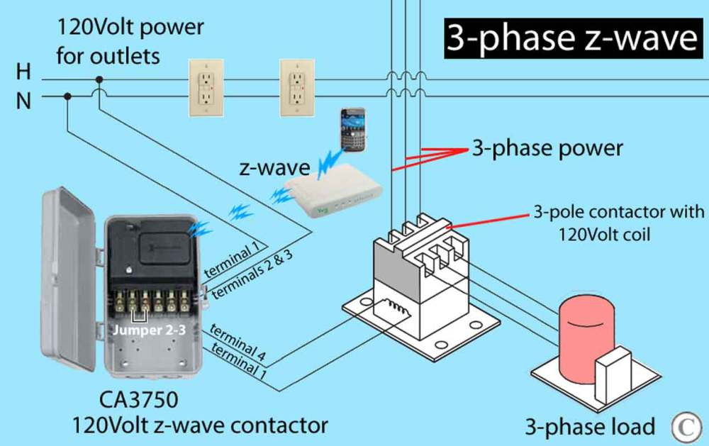 medium resolution of 3 phase z wave contactor ca3750