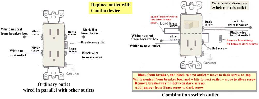 medium resolution of how to replace outlet with combo switch replacement 3 prong wall plug wiring diagram