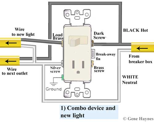 gfci outlet with switch wiring diagram kenwood car radio how to wire combination 1 new combo device controls light
