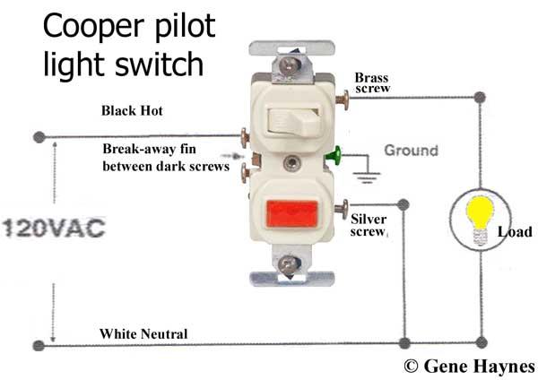 cooper pilot light switch wire diagram