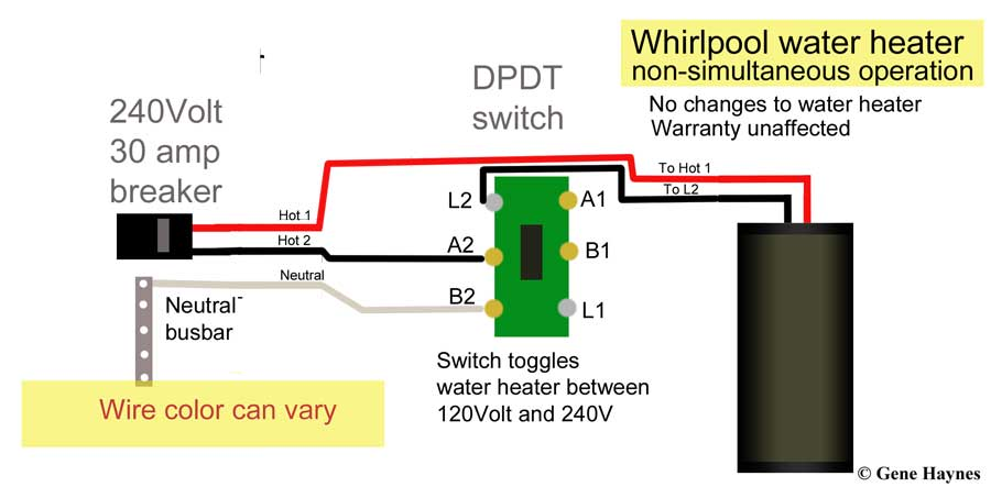 hot water tank wiring diagram 2016 ford truck trailer how to wire heater for 120 volts bring white neutral from breaker box or nearby outlet