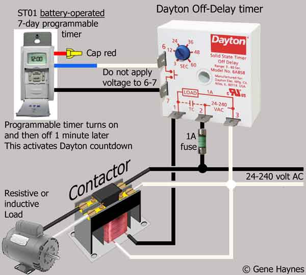 12 volt relay wiring diagram seymour duncan hot rails how to wire dayton off delay timer substitute battery operated for push button switch