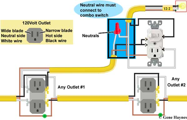 gfci outlet with switch wiring diagram honeywell heat only thermostat how to wire combination neutral must connect combo is normally two or more white wires covered connector and pushed back of box