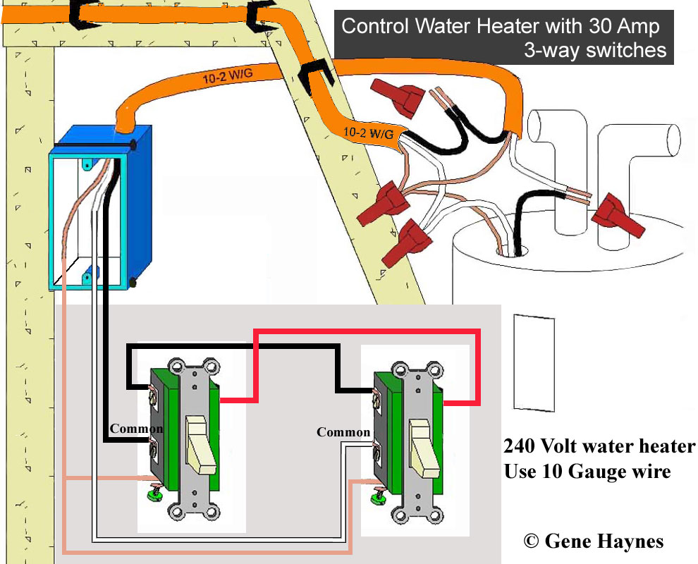 hight resolution of 240v water heater can be controlled directly using two 30 amp switches illustration for 30 amp 3 way circuit note 240v circuit has 2 hot wires putting