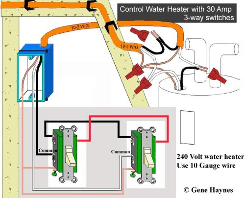 small resolution of 240v water heater can be controlled directly using two 30 amp switches illustration for 30 amp 3 way circuit note 240v circuit has 2 hot wires putting