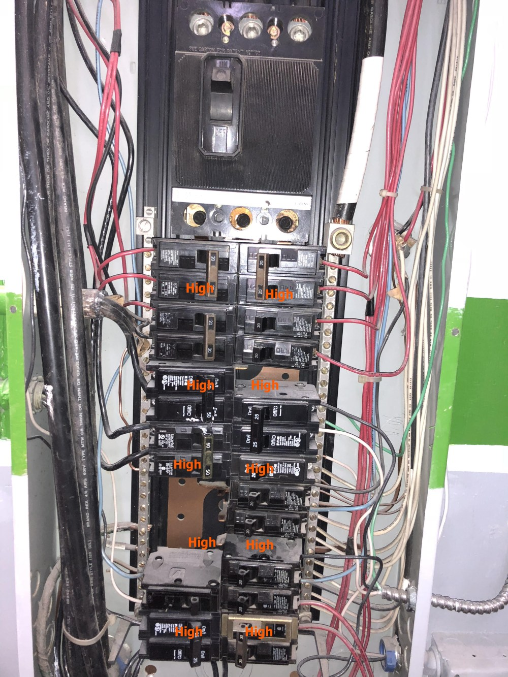 medium resolution of  8 breakers are double pole and deliver 240 volt 8 breakers are single pole only 1 of the 8 single breakers is connected to the high leg