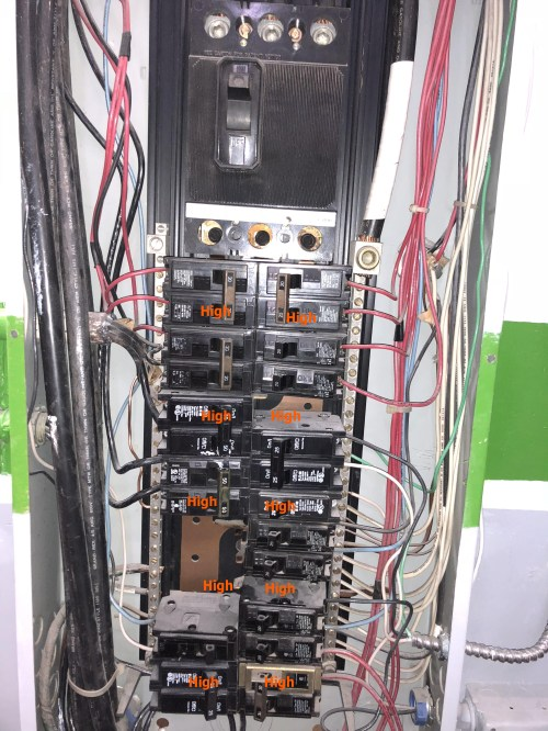 small resolution of  8 breakers are double pole and deliver 240 volt 8 breakers are single pole only 1 of the 8 single breakers is connected to the high leg