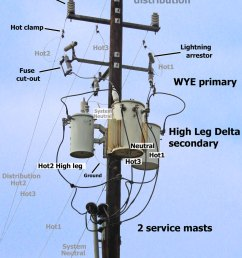 larger image high leg delta service at local business 7200 volt distribution power comes from across the street on 3 hot lines and 1 neutral [ 1200 x 1638 Pixel ]