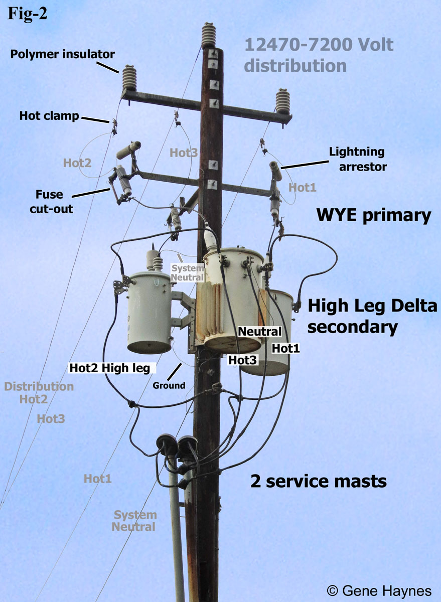 hight resolution of larger image high leg delta service at local business 7200 volt distribution power comes from across the street on 3 hot lines and 1 neutral