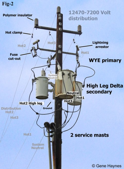 small resolution of larger image high leg delta service at local business 7200 volt distribution power comes from across the street on 3 hot lines and 1 neutral