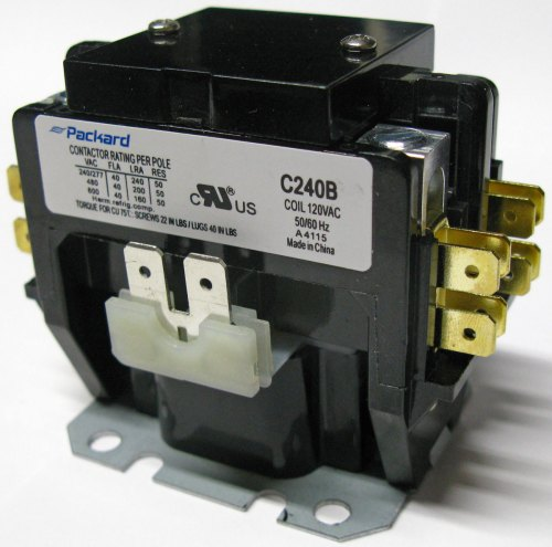 small resolution of 2 pole 40 amp contactor with removable dust cover on top select correct voltage needed to control coil water heaters typically use 240 volt coil