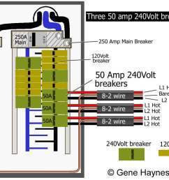 use 50 amp breaker with 6 gauge wire no difference if all breakers on same side of panel or on different sides requires 250 amp service and 250 amp main  [ 1192 x 1000 Pixel ]