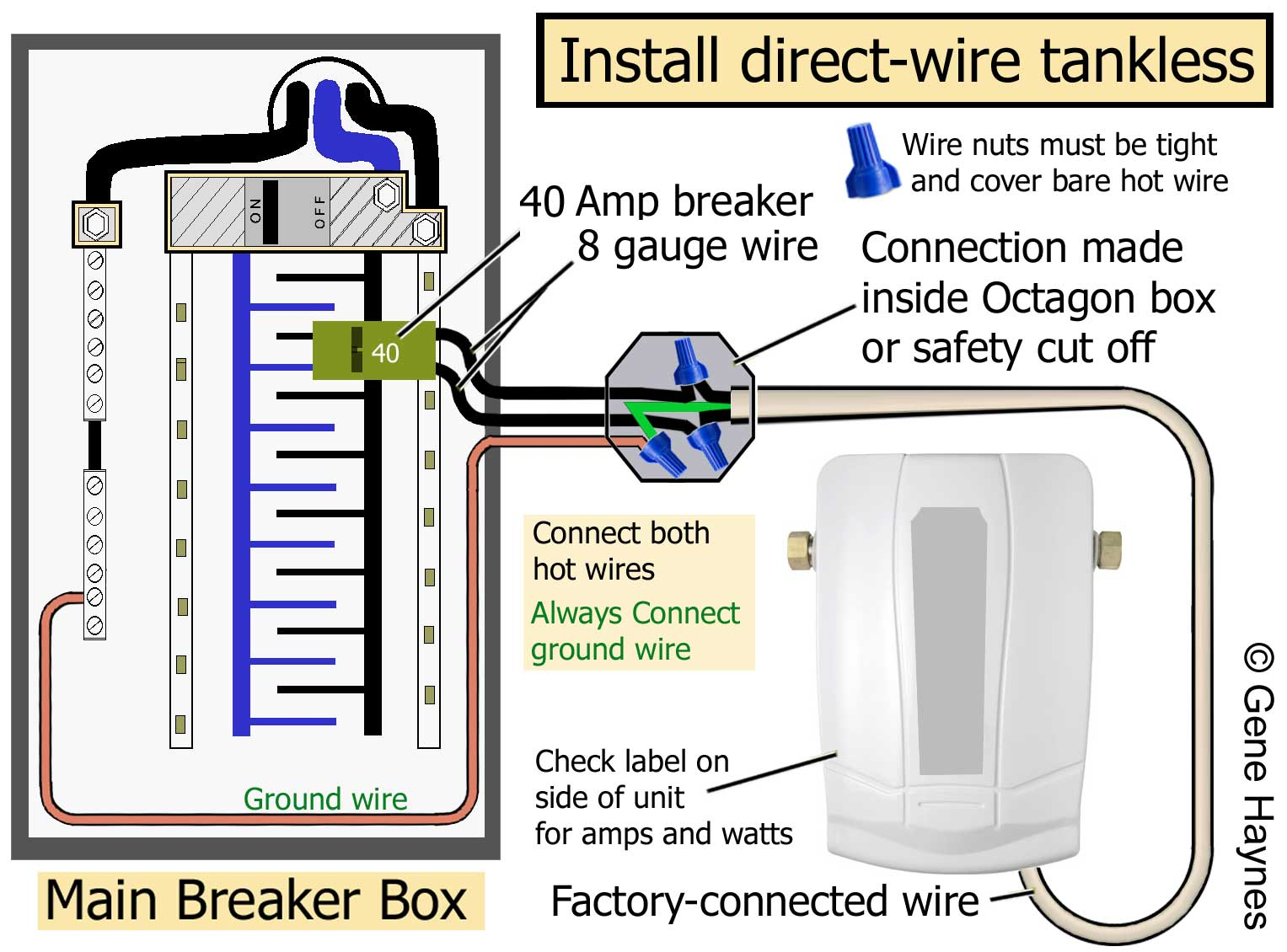 hight resolution of read rating plate on side of unit for amps and watts connect wire from breaker and factory pigtail inside octagon box using wire connectors