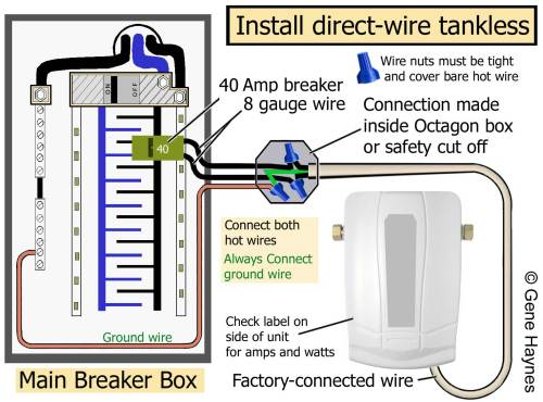 small resolution of larger image factory connected wire or pigtail attached to tankless read rating plate on side of unit for amps and watts connect wire from breaker and
