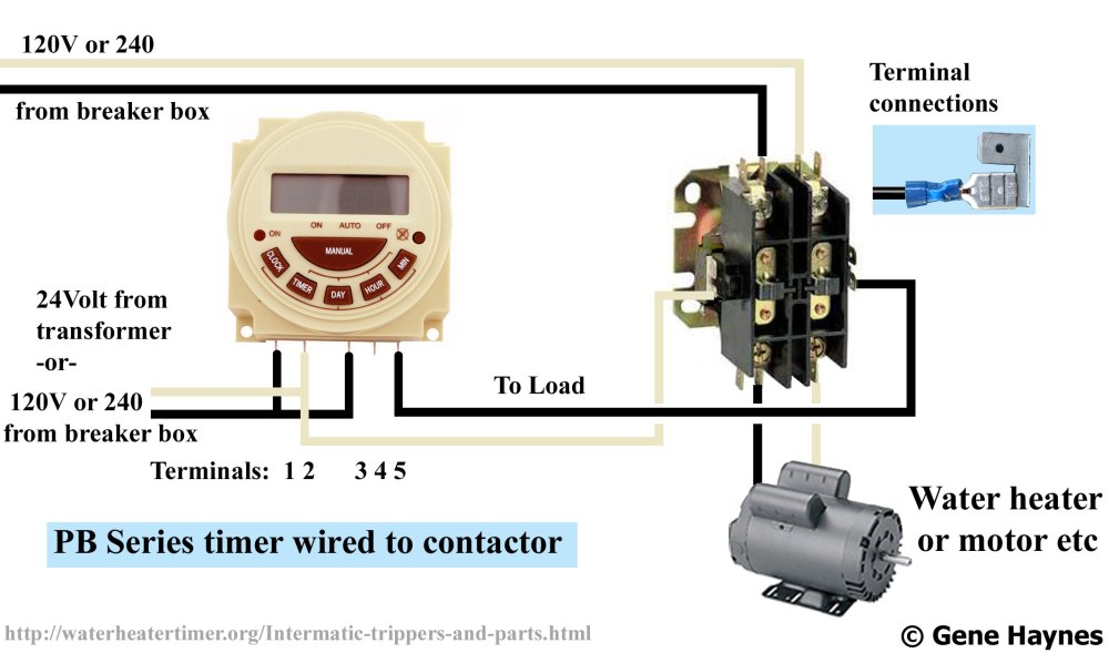 medium resolution of larger image connect modular timer to contactor pb series battery operated pool spa timer 7 programs 7 day 0r 24 hour 120v or 240v spdt no nc