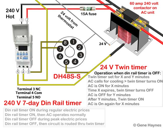 time delay relay circuit diagram wiring for led fog lights how to wire twin timer override air conditioner thermostat or any using dh48s note the illustration shows terminals on opposite side from