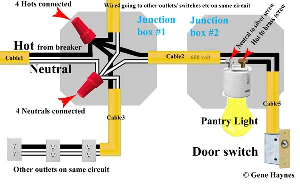 wiring diagram junction box light 97 vw jetta radio how to wire door switch example shows hot and neutral arriving at from 1 supplies power 3 outlets in pantry another leaves