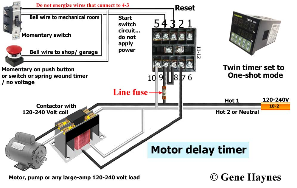 time delay relay circuit diagram vauxhall corsa b radio wiring how to wire twin timer off for recirculation system