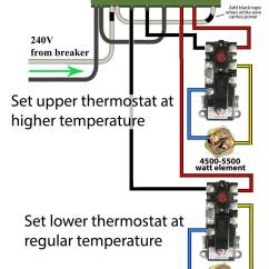 Electric Geyser Wiring Diagram Clipsal 2000 Light Switch How To Wire Water Heater Thermostats Not Necessary Increase Or Breaker Size For This Use Timer Two Different Temperatures On
