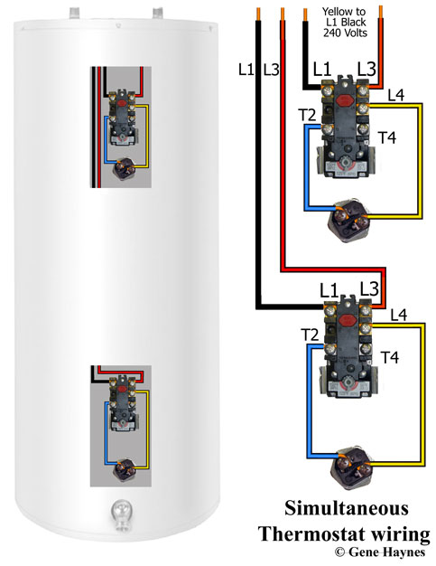 wiring diagram for water heater thermostat travel trailer inverter how to wire thermostats simultaneous both operate independently used in large heaters when elements cannot keep up with demand