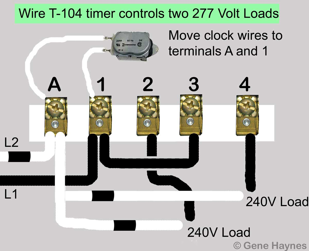 hight resolution of larger image t 104 two 277 volt loads move motor leads to terminals a and 1 add jumper from terminal 1 to terminal 3