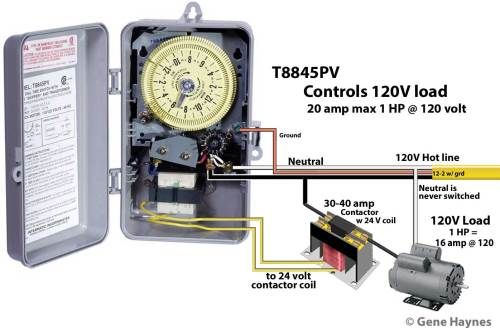small resolution of or install 20 amp line fuse between incoming hot wire and timer and this will allow timer to control any voltage load