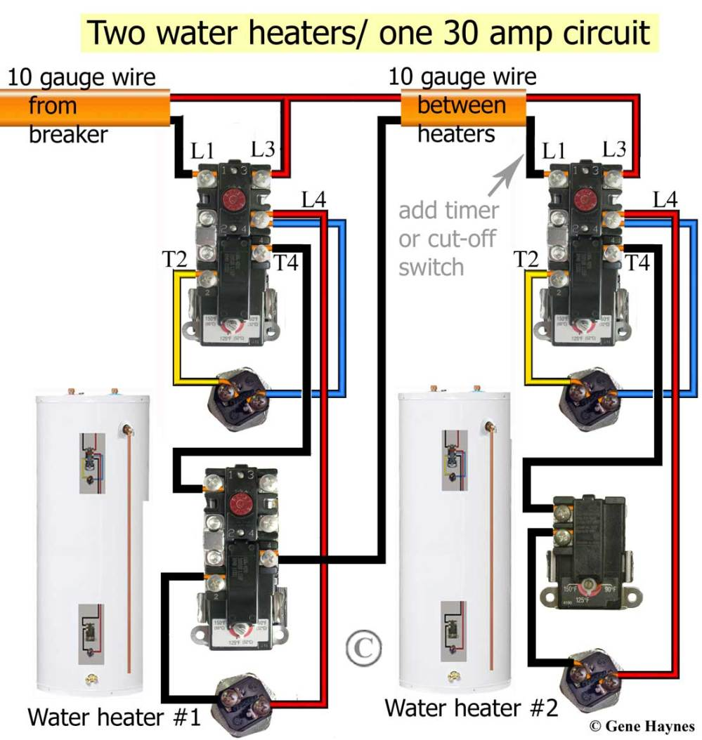 medium resolution of larger image non simultaneous thermostats control 2 water heaters simultaneous wiring will heat top of tank first redundant will turn on as soon as cold