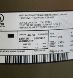 see larger image different water heater label 4500 watts 240volts label shows 4500 watt elements 240volt total connected 4500 watts which means both  [ 1884 x 1000 Pixel ]