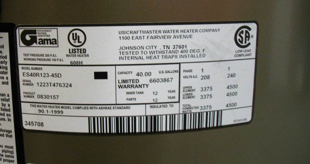 medium resolution of see larger image different water heater label 4500 watts 240volts label shows 4500 watt elements 240volt total connected 4500 watts which means both