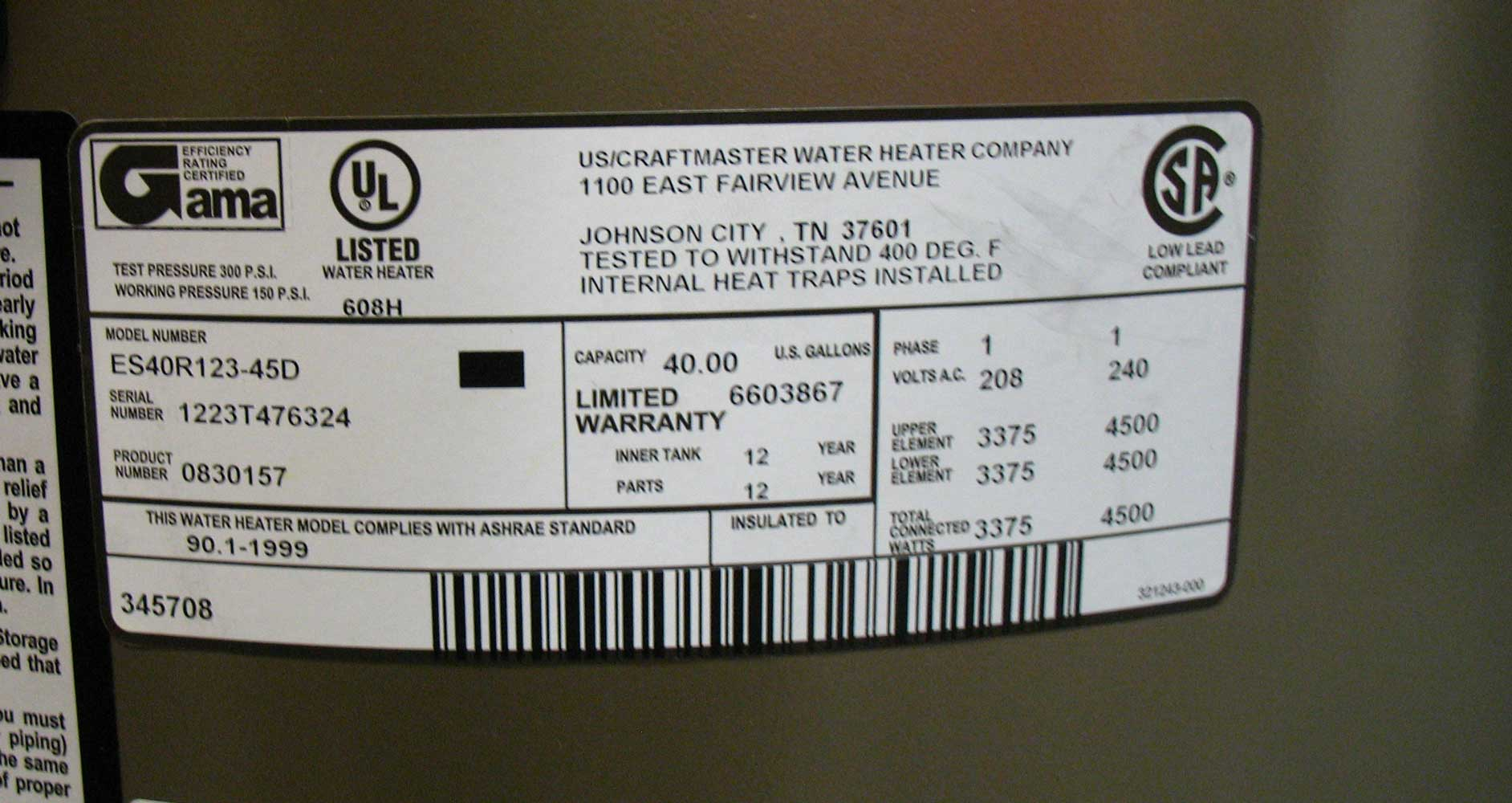 hight resolution of see larger image different water heater label 4500 watts 240volts label shows 4500 watt elements 240volt total connected 4500 watts which means both