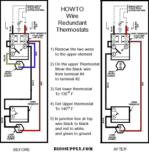 electric geyser wiring diagram jimmy page how to wire water heater thermostats remove blue and yellow wires from upper thermostat step2 move black terminal t4 t2 tighten screws very tight against copper