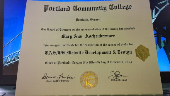 Website Design and Development Certificate awarded to Mary Ann Aschenbrenner