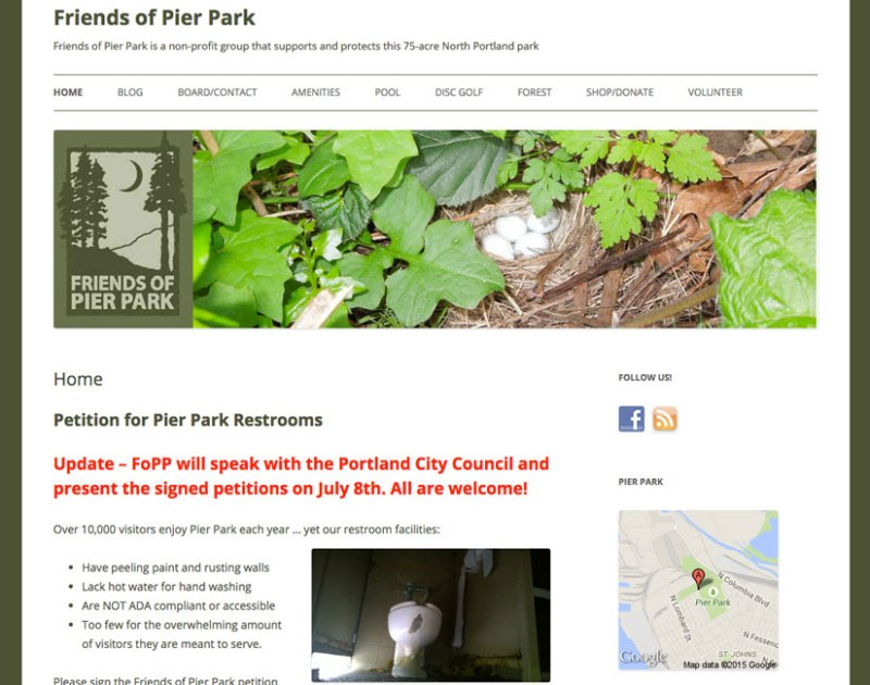 Friends of Pier Park website by Waterlink Web