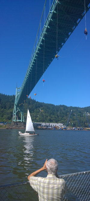 Greenpeace protest on the St. Johns Bridge with protestors dangling from the Bridge