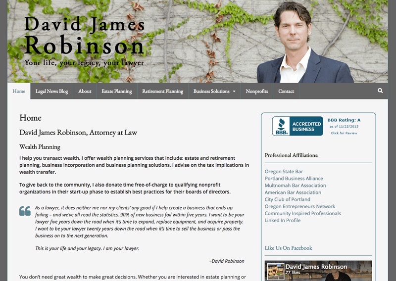 David James Robinson WordPress website by Waterlink Web