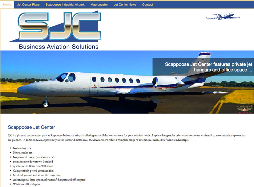 Scappoose Jet Center website by Waterlink Web