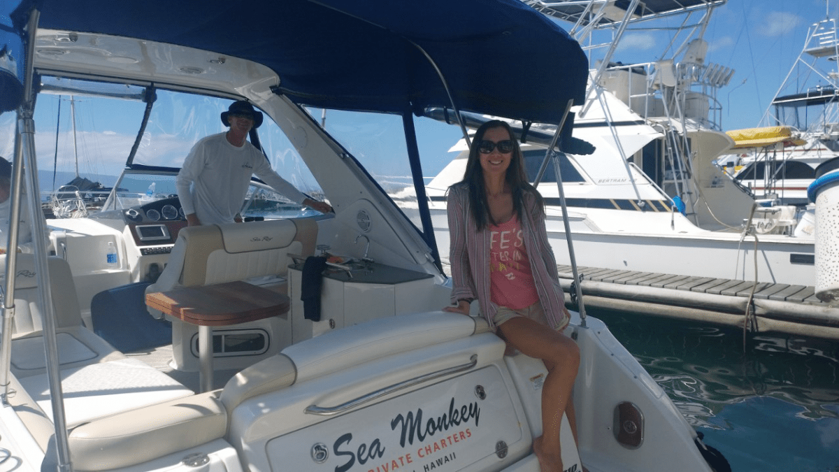 Sea Monkey Private Charters on the Lahaina Wharf in Maui, Hawaii.