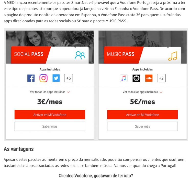 Vodafone Portugal screenshot