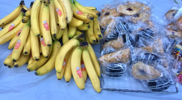 Treats and bananas donated by New Seasons and Starbucks to Friends of Pier Park
