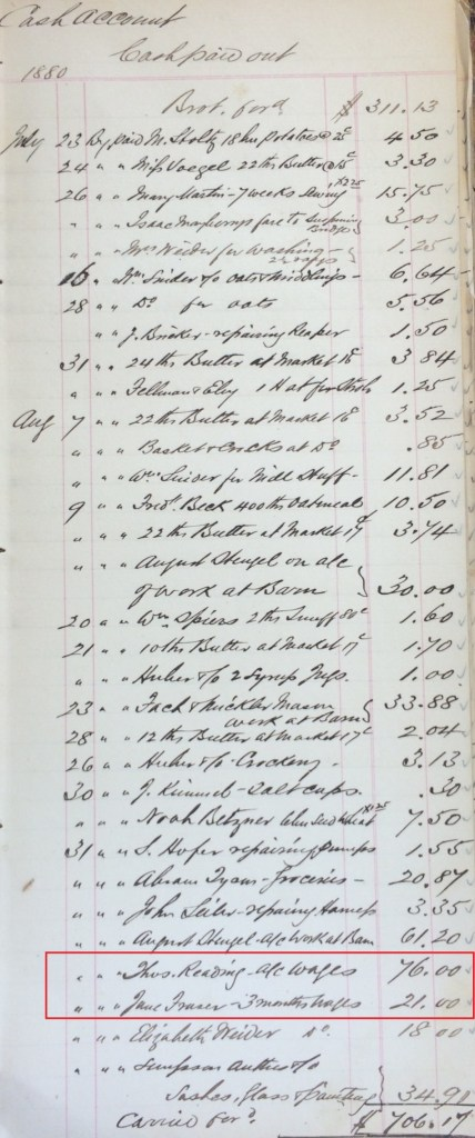 1880 Keeper's Accounts; Source: Region of Waterloo Archives