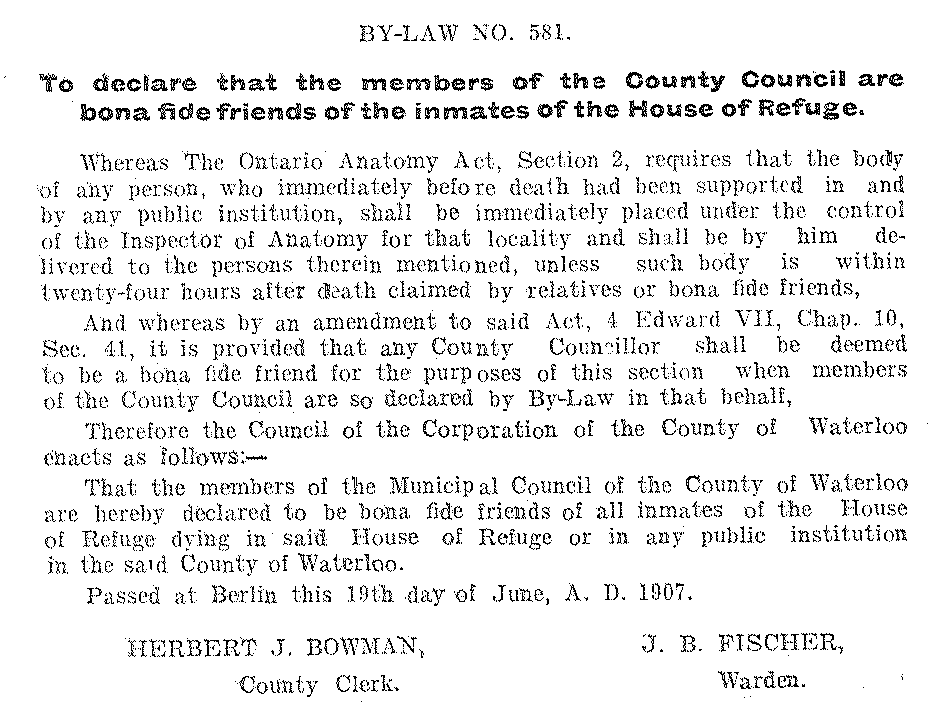 1907 Journal of Proceedings and By-Laws of the Municipal Council of the County of Waterloo; Source: Region of Waterloo Archives