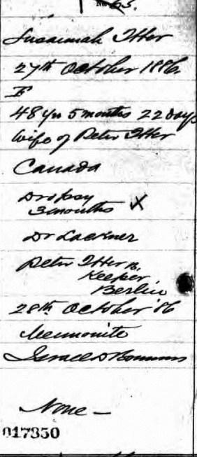 Susannah's Death Certificate 1886; Source: ancestry.ca